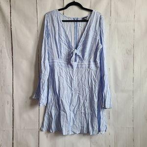 Rue21 blue stripe mini dress flare sleeve xl new